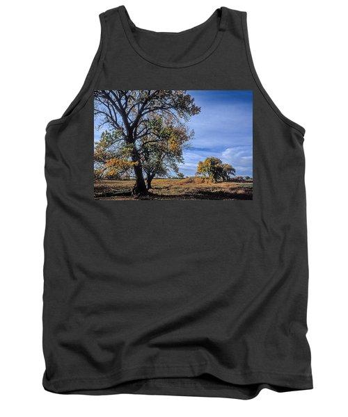 Cottonwood #5 Fall Ranch Colorado Blue Sky Tank Top by John Brink