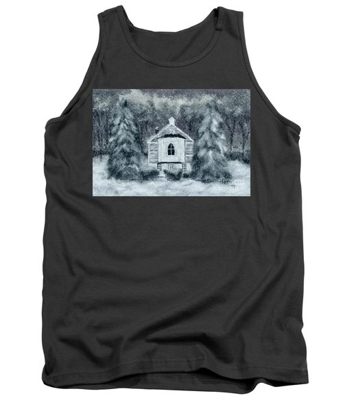 Tank Top featuring the digital art Country Church On A Snowy Night by Lois Bryan