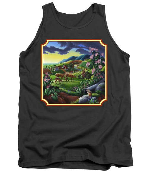 Country Landscape - Deer In The High Meadow - Square Format Tank Top