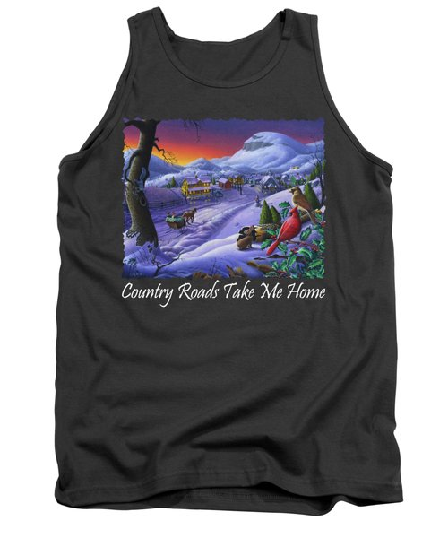 Country Roads Take Me Home T Shirt - Small Town Winter Landscape With Cardinals 2 - Americana Tank Top