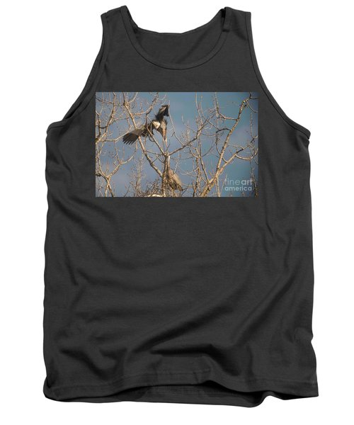 Tank Top featuring the photograph Courtship Ritual Of The Great Blue Heron by David Bearden