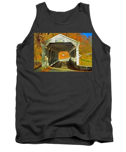 Tank Top featuring the photograph Covered Bridge Impasto Oil by David Zanzinger