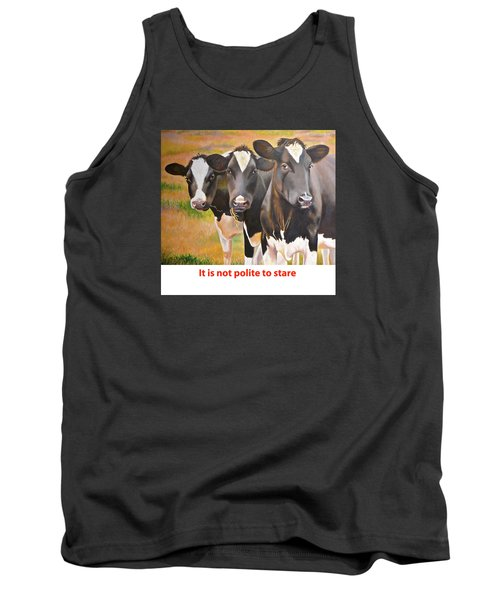 Tank Top featuring the painting Cow Holstein Trio by K L Kingston