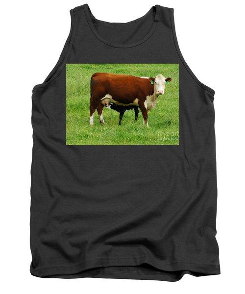 Cow With Calf Tank Top by Debra Crank