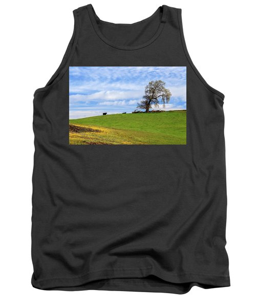 Tank Top featuring the photograph Cows On A Spring Hill by James Eddy