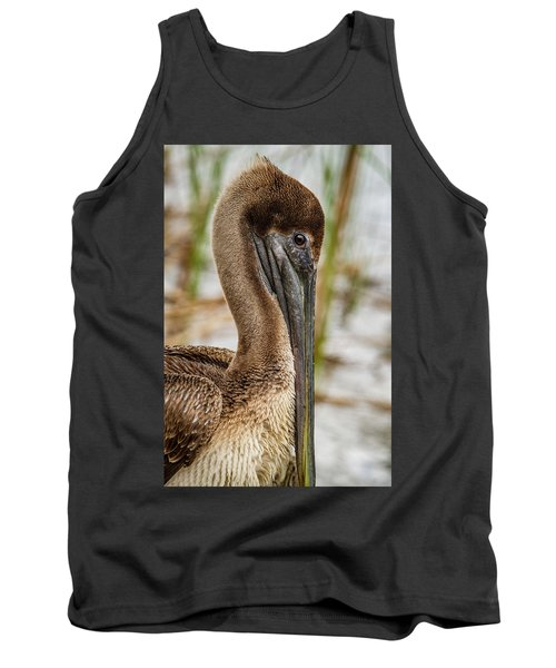 Tank Top featuring the photograph Coy Pelican by Jean Noren