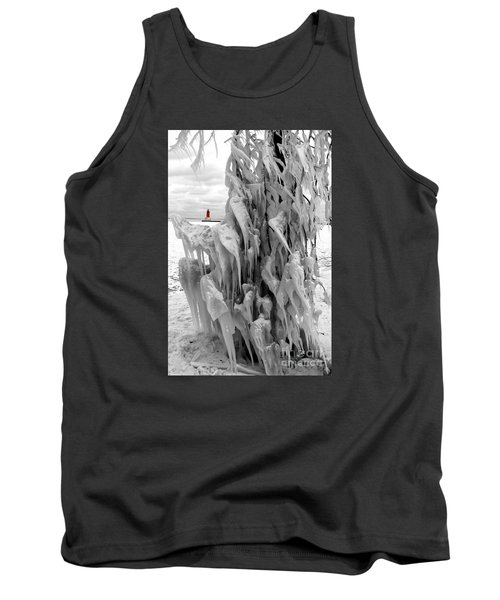 Tank Top featuring the photograph Cradled In Ice - Menominee North Pier Lighthouse by Mark J Seefeldt