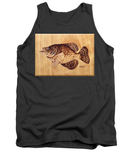 Tank Top featuring the pyrography Crappie by Ron Haist