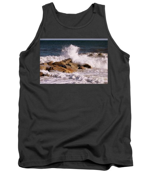 Tank Top featuring the photograph Crashing Surf On Plum Island by Eunice Miller