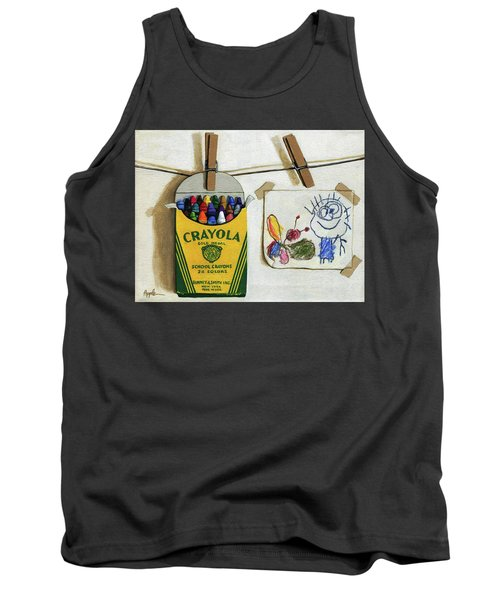 Tank Top featuring the painting Crayola Crayons And Drawing Realistic Still Life Painting by Linda Apple
