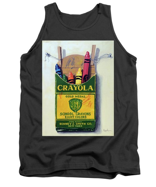 Tank Top featuring the painting Crayola Crayons Painting by Linda Apple