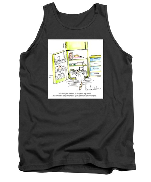 Tank Top featuring the painting Crazy Cat Lady 0003 by Lou Belcher