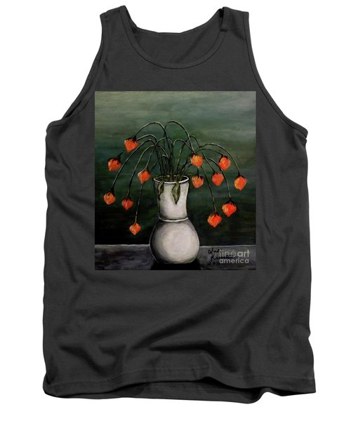 Tank Top featuring the painting Crazy Red Flowers by Judy Kirouac