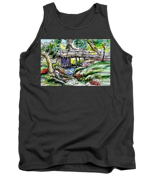 Tank Top featuring the painting Creek Bed And Bridge by Terry Banderas