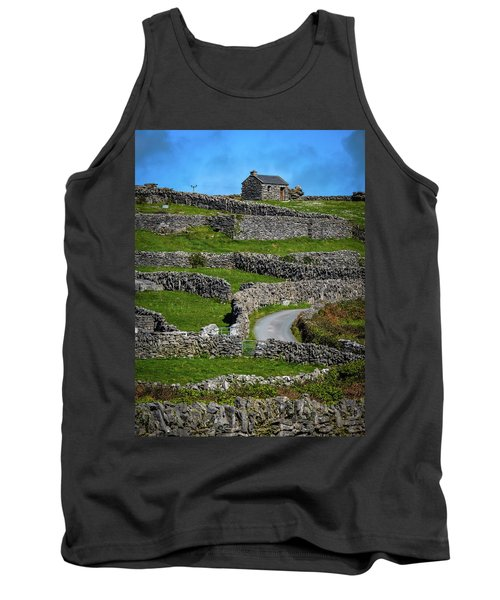 Tank Top featuring the photograph Criss-crossed Stone Walls Of Inisheer by James Truett