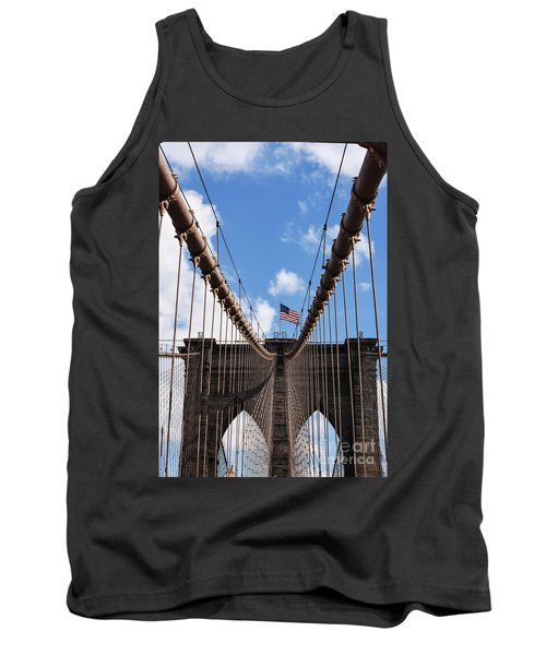 Tank Top featuring the photograph Crossing The Brooklyn Bridge by Judy Wolinsky