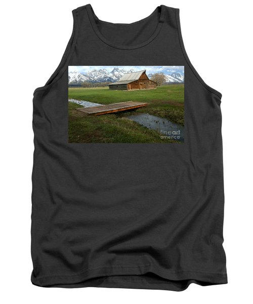 Crossing The Creek Along Mormon Row Tank Top by Adam Jewell
