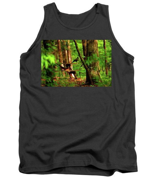 Crow On A Table Tank Top by Andy Lawless