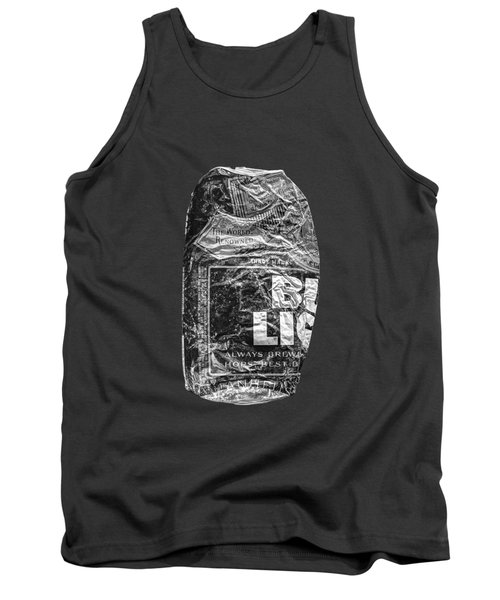 Crushed Blue Beer Can On Plywood 78 In Bw Tank Top