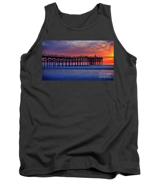 Crystal Pier In Pacific Beach Decorated With Christmas Lights Tank Top