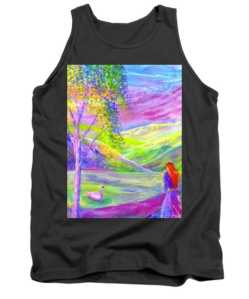 Tank Top featuring the painting Crystal Pond, Silver Birch Tree And Swan by Jane Small