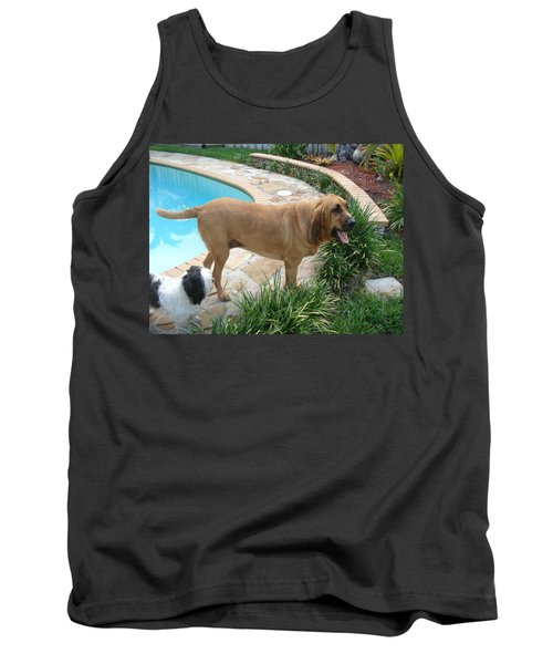 Cujo And Lucky By The Pool Tank Top by Val Oconnor