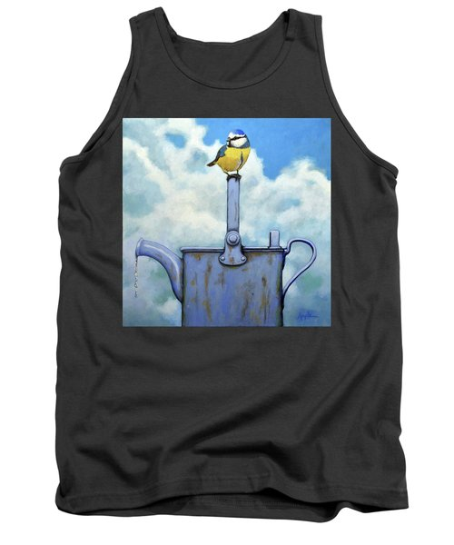 Tank Top featuring the painting Cute Blue-tit Realistic Bird Portrait On Antique Watering Can by Linda Apple