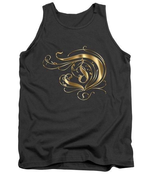 D Ornamental Letter Gold Typography Tank Top
