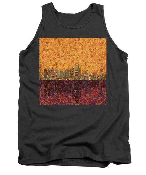 Dallas Skyline Abstract Tank Top by Bekim Art