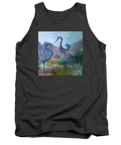 Dancing Cranes Tank Top by Robin Maria Pedrero