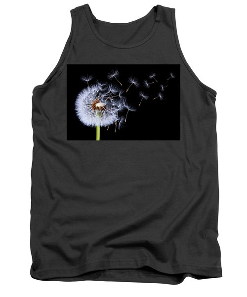 Tank Top featuring the photograph Dandelion Blowing On Black Background by Bess Hamiti