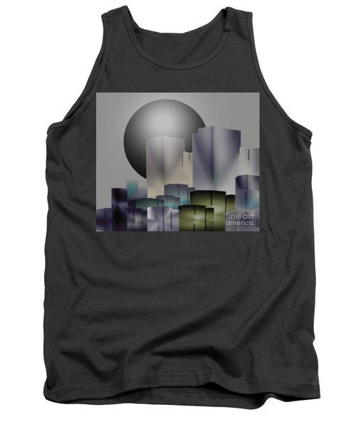 Tank Top featuring the digital art Dark Moon Over The City by John Krakora