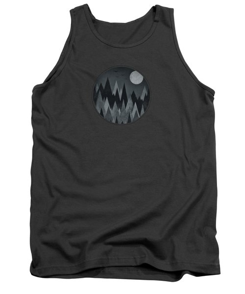 Dark Mystery Abstract Geometric Triangle Peak Woods Black And White Tank Top by Philipp Rietz
