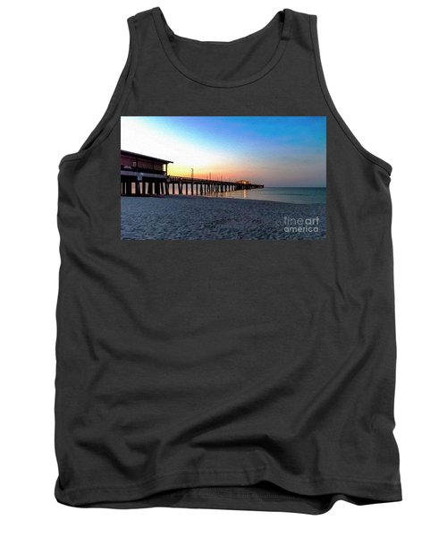 Dawn At Gulf Shores Pier Al Seascape 1283a Digital Painting Tank Top