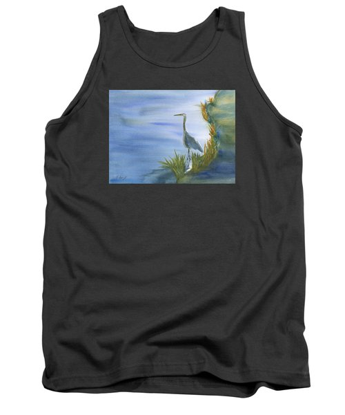 Daybreak With A Great Blue Heron  Tank Top by Frank Bright