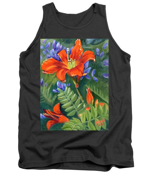 Tank Top featuring the painting Daylilies by Renate Nadi Wesley