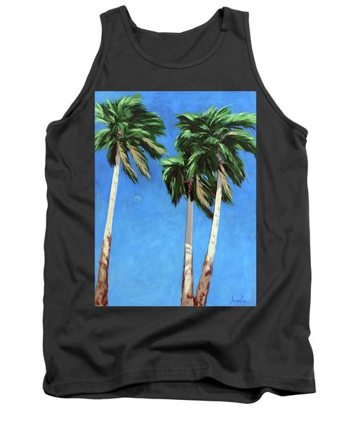 Tank Top featuring the painting Daytime Moon In Palm Springs by Linda Apple