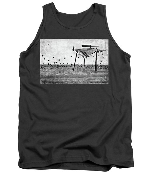 Tank Top featuring the photograph Death Of A Friend - Frisco Pier Outer Banks Bw by Dan Carmichael