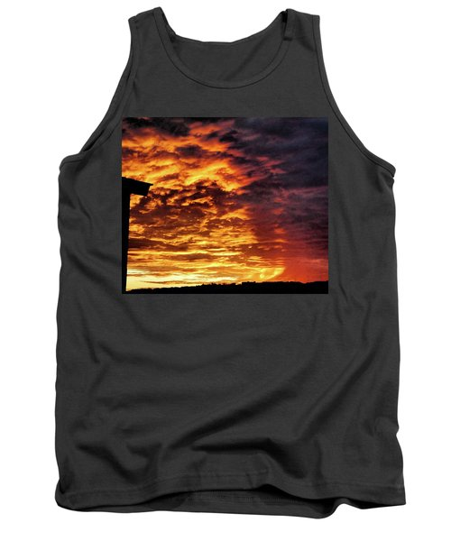 Tank Top featuring the painting December Austin Sunset  by Layne William LoMaglio