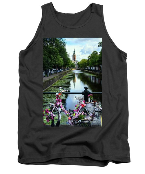 Tank Top featuring the photograph Canal And Decorated Bike In The Hague by RicardMN Photography