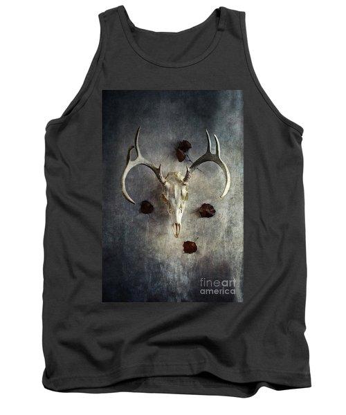 Deer Buck Skull With Fallen Leaves Tank Top
