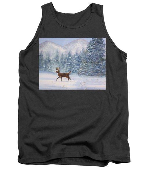 Deer In The Snow Tank Top