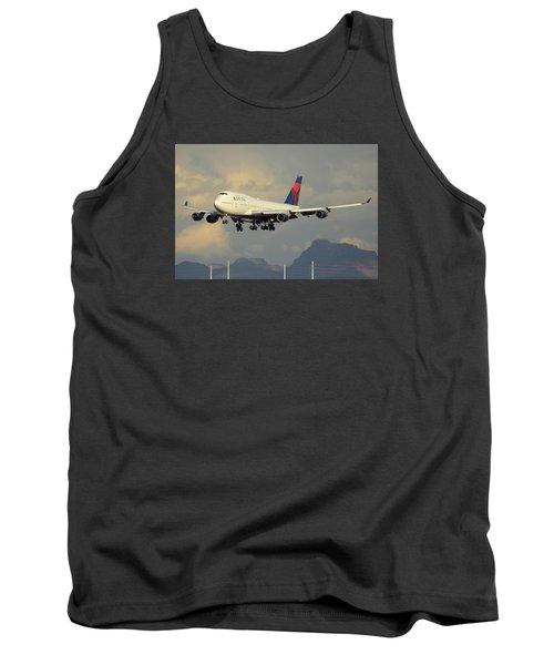 Delta Boeing 747-451 N668us Phoenix Sky Harbor January 8 2015 Tank Top by Brian Lockett