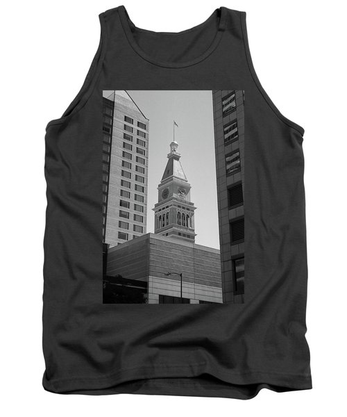 Denver - Historic D And F Clocktower 2 Bw Tank Top by Frank Romeo