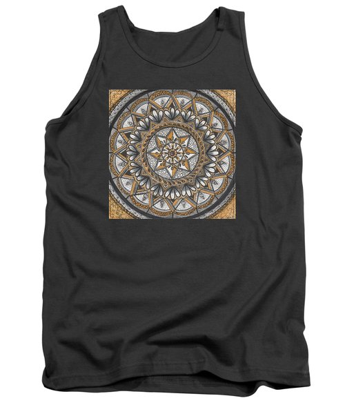 Des Tapestry In Gold-grey-black Tank Top by Kathy Sheeran