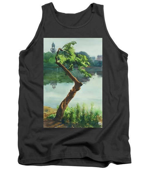 Tank Top featuring the painting Dhanmondi Lake 03 by Helal Uddin