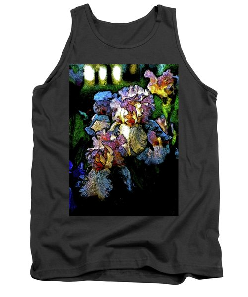 Digital Expressionist Painting Pale Pink Irises 6702 W_4 Tank Top