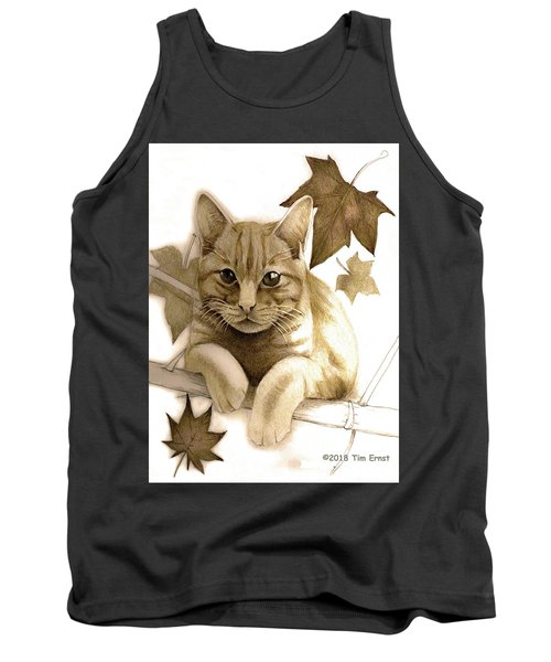 Digitally Enhanced Cat Image Tank Top