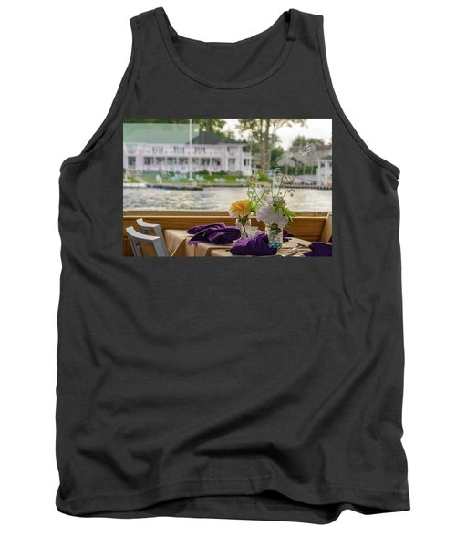 Tank Top featuring the photograph Dining Aboard The Miss Lotta by Maureen E Ritter