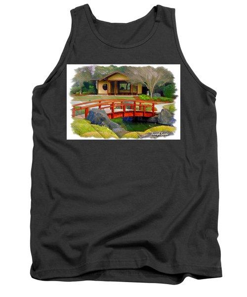 Do-00006 Cypress Bridge And Tea House Tank Top by Digital Oil